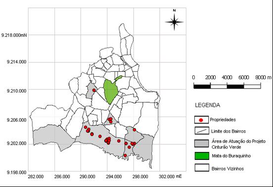 Mapa Temático - Espacialização das propriedades rurais assistidas pelo projeto