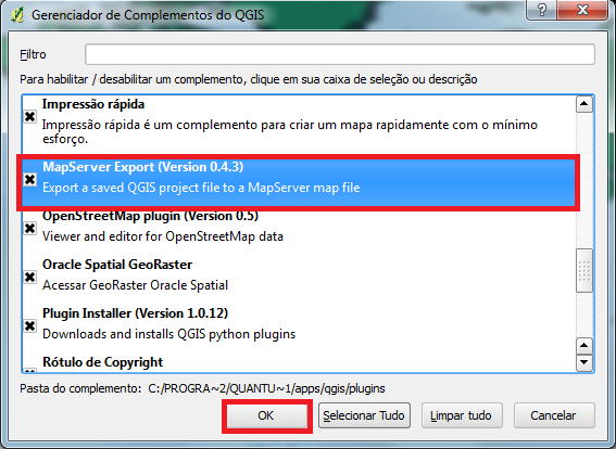 MapServer Export - Ativar Plugin