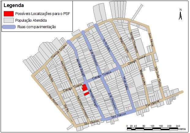 Lotes para a melhor localização do PSF/USF(I) do Rangel segundo análise espacial realizada