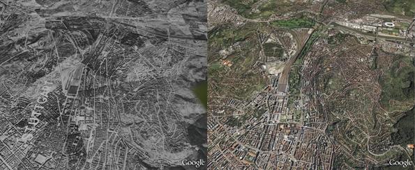 Stuttgart, na Alemanha, em 1943 (E) e agora (D). (Foto: Reprodução)