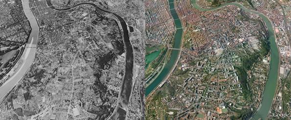 Lyon devastada pelos bombardeios da Segunda Guerra (E) e reconstruída (D). (Foto: Reprodução)