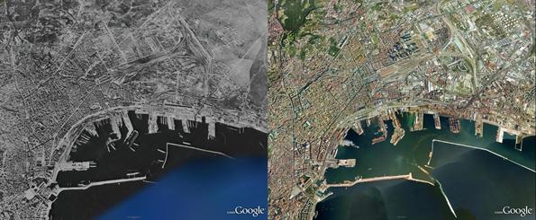 Nápoles, na Itália, destruída pelos ataques durante a guerra (E) e atualmente (D). (Foto: Reprodução)