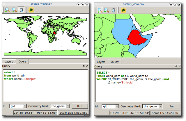 Console SQL para PostGIS Viewer