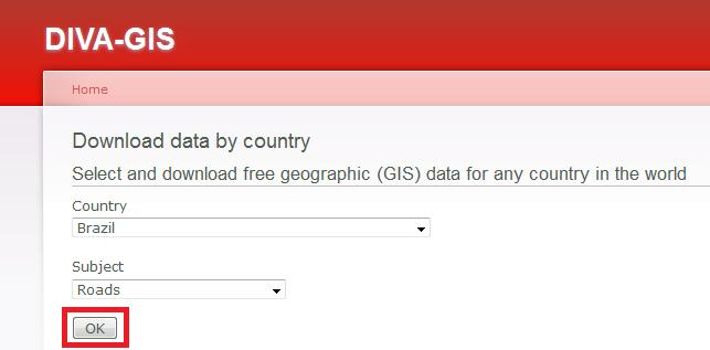 Dados Geográficos no Site do Diva-GIS